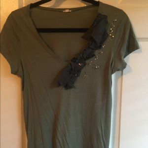 Jcrew embellished tee with sequins and ribbon